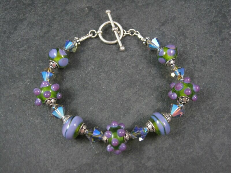 Art Glass Purple and Green Lampwork Toggle Bracelet 8 Inches