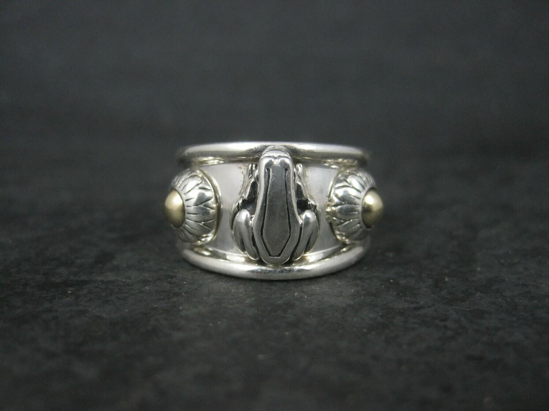 Barry Kieselstein Cord Sterling 14K Frog Ring Size 6.5