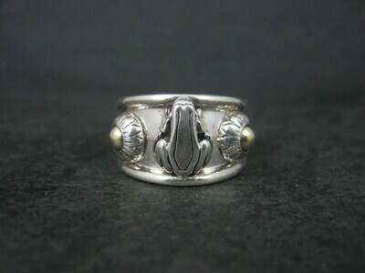 Barry Kieselstein Cord Sterling 14K Frog Ring Size 6.5