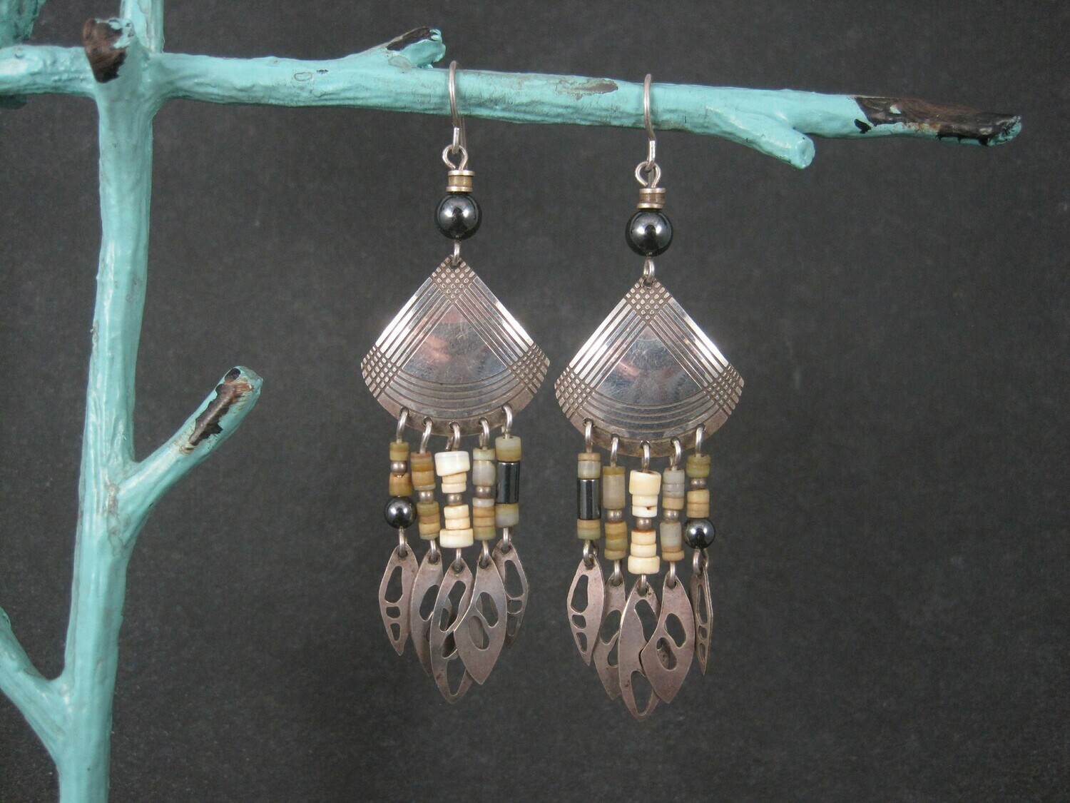 Vintage Earthy Sterling Leaf Earrings by Banner