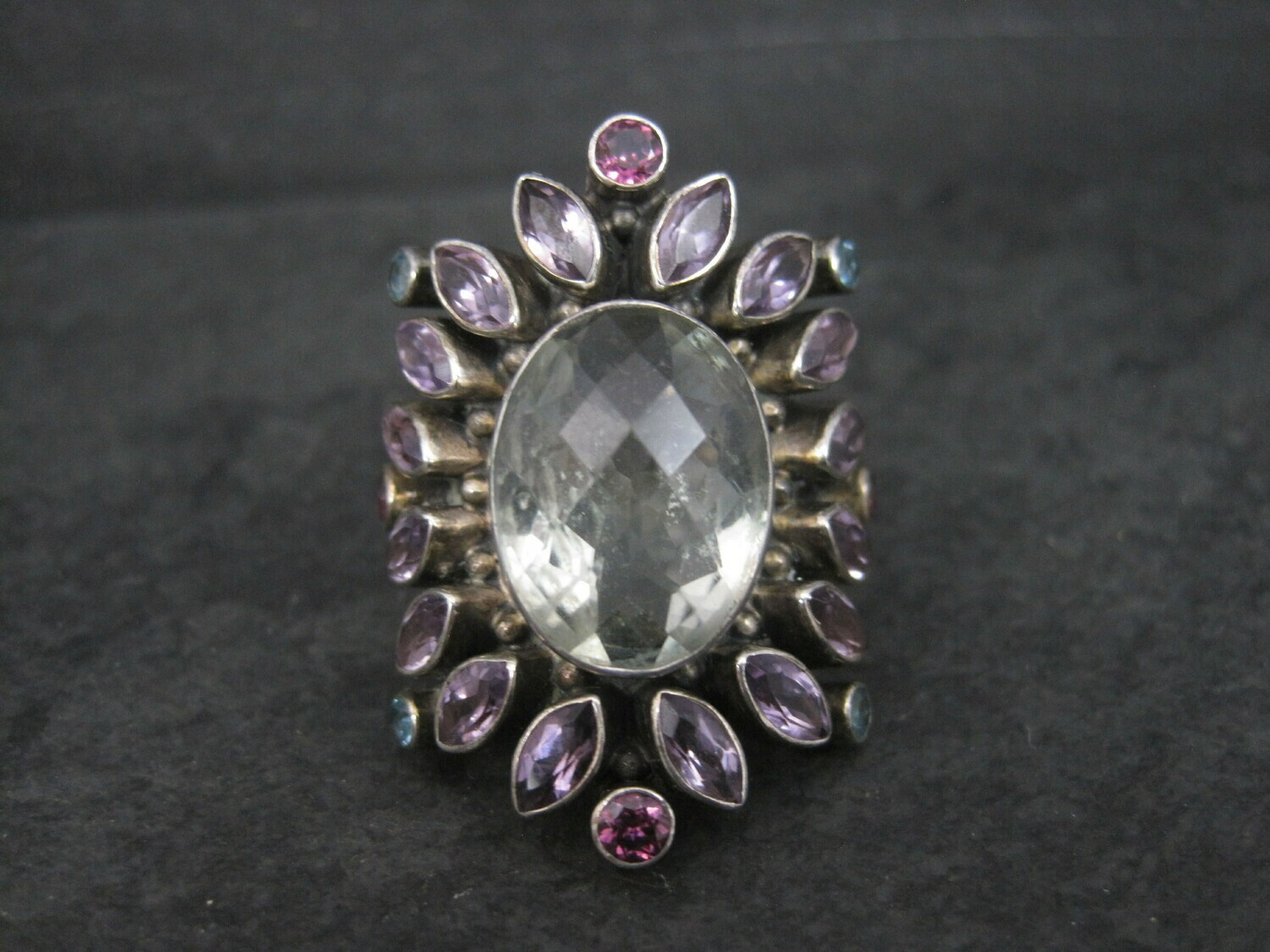Large Nicky Butler Sterling Ring Amethyst Prasiolite Size 8 Limited Edition