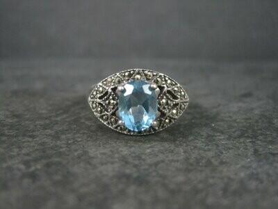 Blue Topaz Marcasite Ring Vintage Sterling Size 10