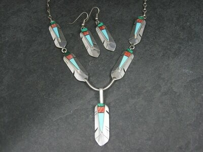 Vintage Sterling Navajo Inlay Feather Necklace and Earrings Jewelry Set