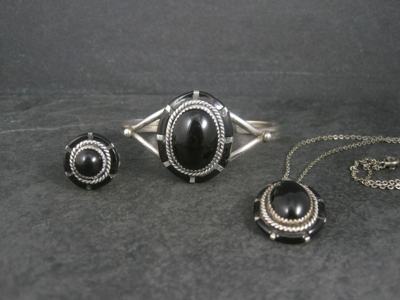 Vintage Southwestern Onyx Inlay Bracelet Pendant Ring Jewelry Set Size 5