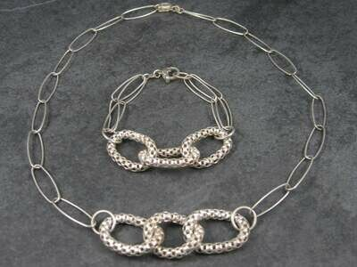 Vintage Modern Sterling Necklace Bracelet Jewelry Set