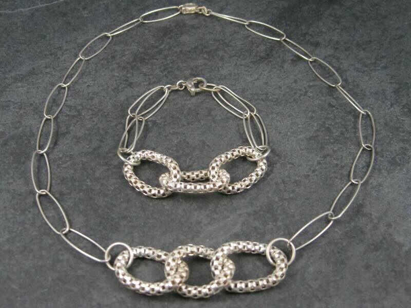 Vintage Modern Sterling Necklace Bracelet Jewelry Set