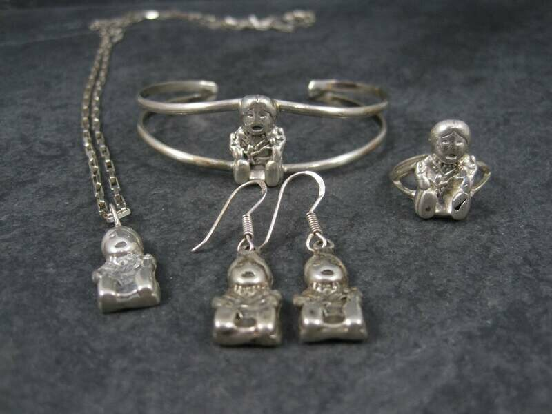 Vintage Sterling Navajo Storyteller Bracelet Ring Earrings Pendant Jewelry Set