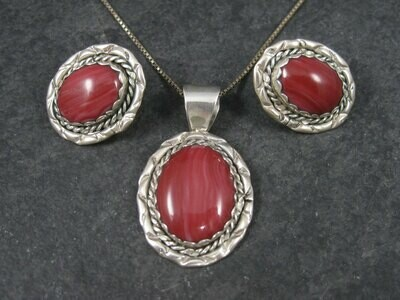 Vintage Navajo Red Spiny Oyster Pendant and Earrings Jewelry Set Ellen Dubois