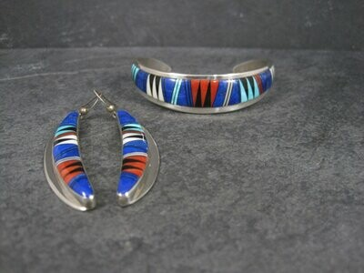 Vintage Southwestern Sterling Inlay Bracelet and Earrings Jewelry Set