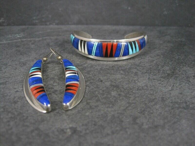 Vintage Southwestern Sterling Inlay Bracelet and Earrings Jewelry Set