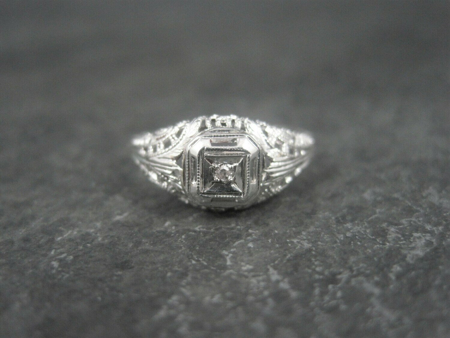 Dainty Antique 10K Filigree Diamond Engagement Ring Size 6