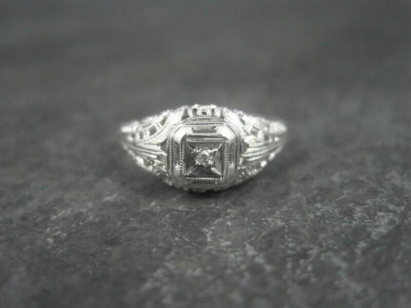 Dainty Antique 10K Filigree Diamond Engagement Ring Size 6