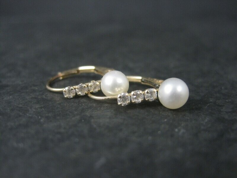 Dainty Vintage 10K Pearl Lever Earrings