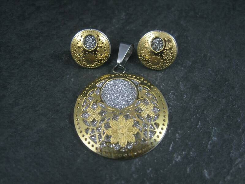 Vintage Filigree Floral Pendant Earrings Jewelry Set Stainless Steel