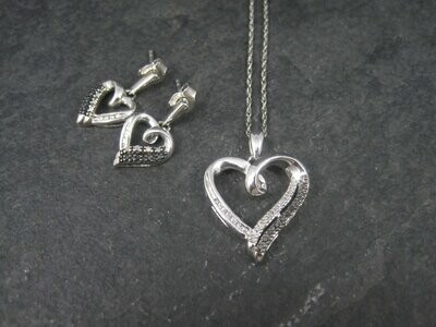 Sterling Black and White Diamond Heart Necklace and Earrings Jewelry Set
