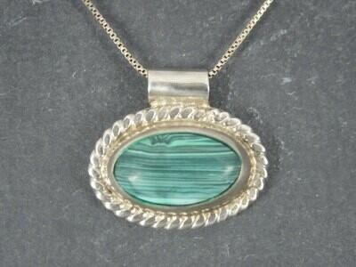 Vintage Mexican Sterling Malachite Pendant Necklace