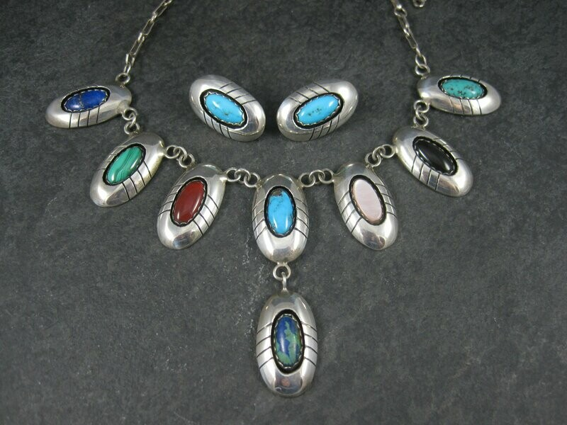 Vintage Navajo Multi Stone Necklace and Earrings Native American Jewelry Set