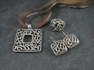 Vintage 90s Filigree Jewelry Set Sterling Necklace Earrings Ring Size 7