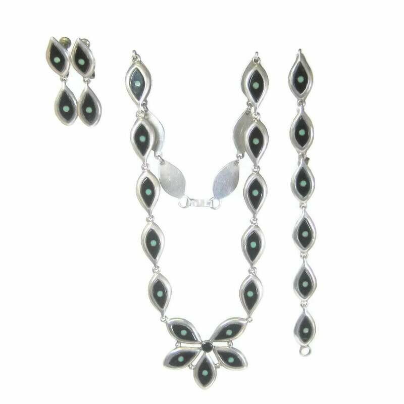 Vintage Mexican Sterling Enamel Jewelry Set Garcia