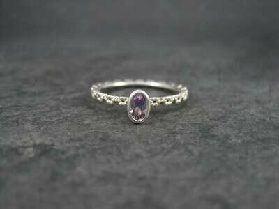 Dainty Sterling Amethyst Flower Ring Size 8