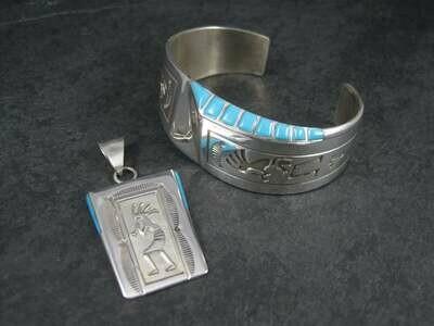 Vintage Navajo Kokopelli Turquoise Bracelet Pendant Jewelry Set