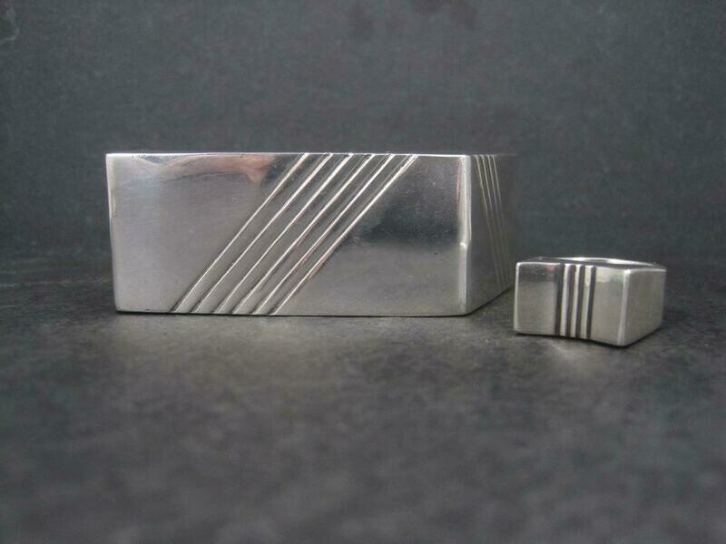 Contemporary Navajo Sterling Cuff Bracelet Ring Set Yellowhorse 6.25 Inches Size 7