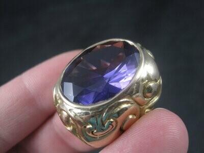 Massive Artisan Celestial 14K Color Change Sapphire Alexandrite Ring Size 8