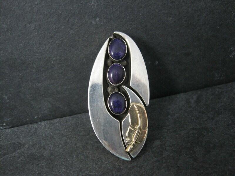 Vintage OOAK Navajo Sugilite Feather Ring Wilbert Cora Vandever