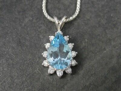 Vintage 14K Topaz Diamond Necklace