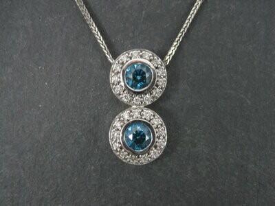 Vintage 14K Fancy Blue Diamond Pendant Necklace