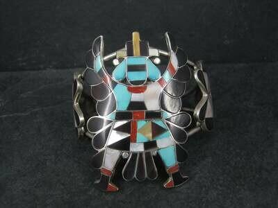 Vintage Zuni Turquoise Coral Inlay Knifewing Cuff Bracelet Annalee Tekala
