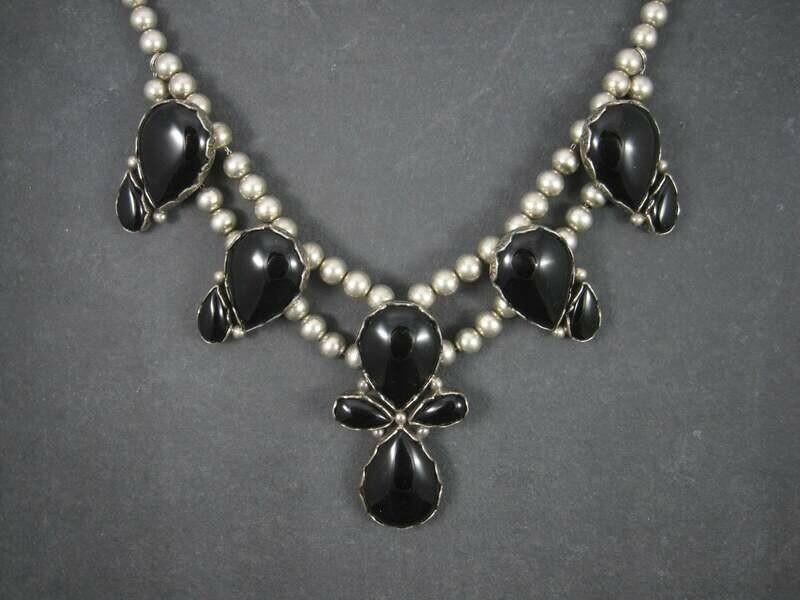 Vintage Sterling Navajo Onyx Statement Necklace
