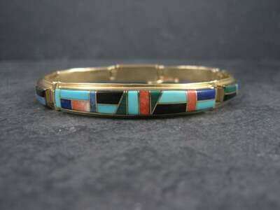 Vintage 14K Native American Inlay Bracelet 8 Inches