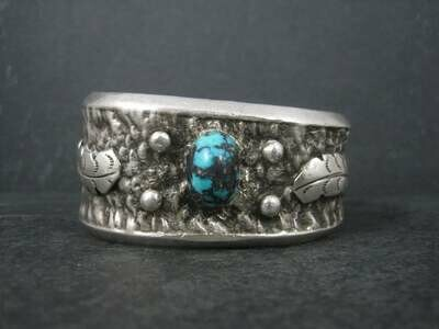 Heavy Vintage Native American Sandcast Turquoise Feather Cuff Bracelet Aztec 6.25 Inches
