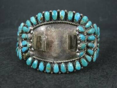 Vintage Zuni Petit Point Turquoise Watch Band Cuff Bracelet 6.5 Inches Judy Wallace