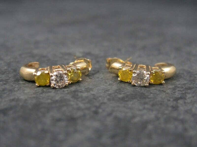 Vintage 14K .70 Ctw Fancy Yellow and White Diamond Earrings