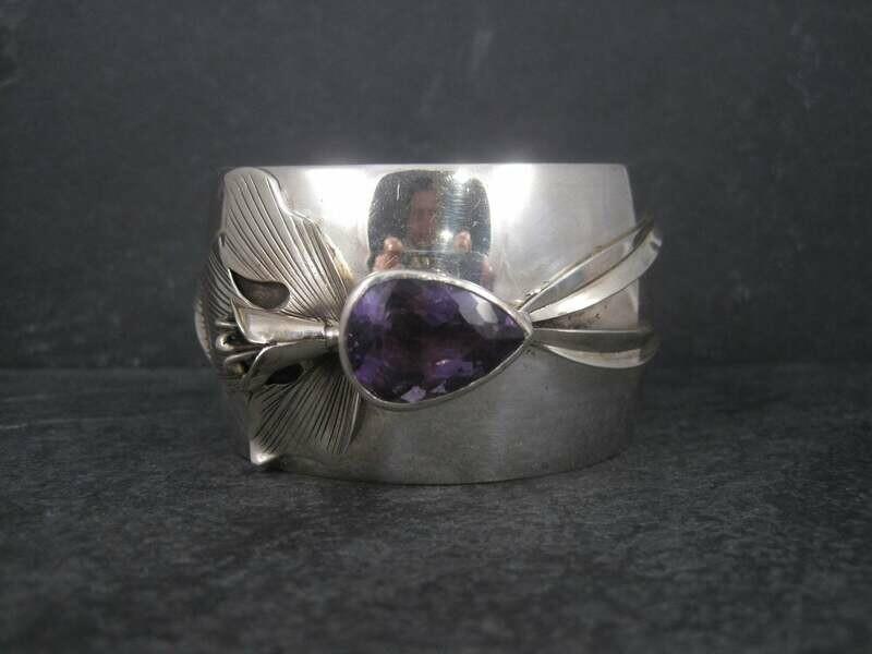 Vintage Sterling Amethyst Orchid Cuff Bracelet Carol Felley
