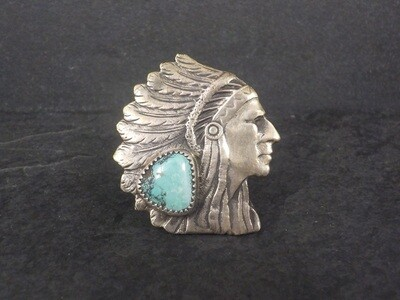 Huge Navajo Turquoise Chieftain Indian Head Ring Size 7.5
