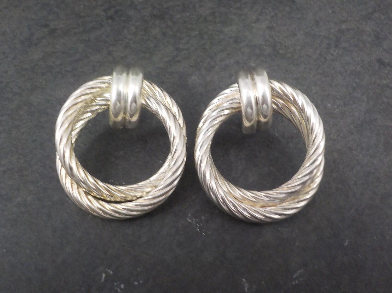 Large Vintage Sterling Circle Earrings