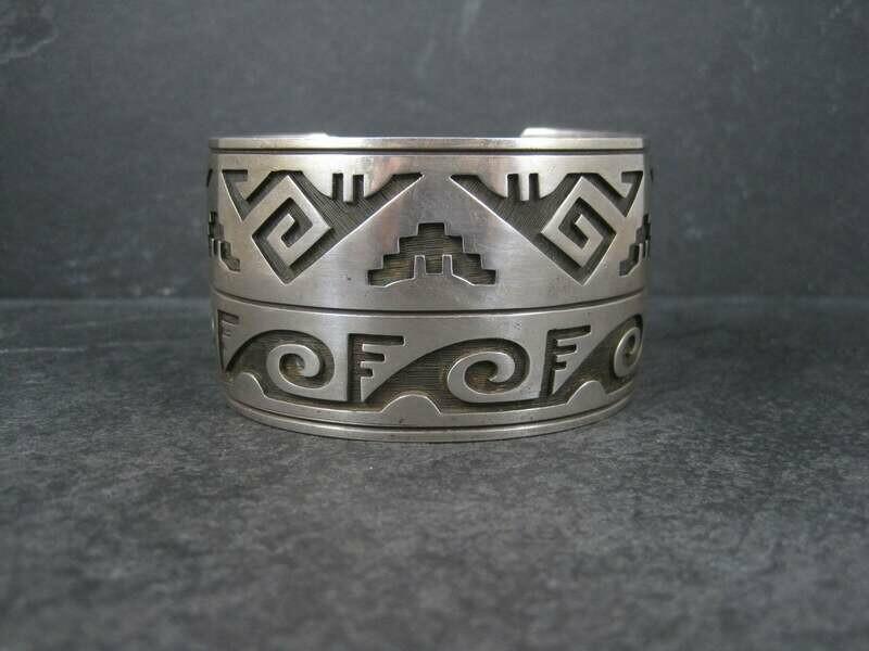 Wide Hopi Sterling Cuff Bracelet 7 Inches