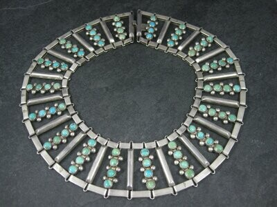 Vintage Mexican Sterling Turquoise Choker Collar Necklace