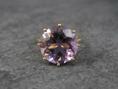 Huge Vintage 10K Amethyst Engagement Ring Size 5
