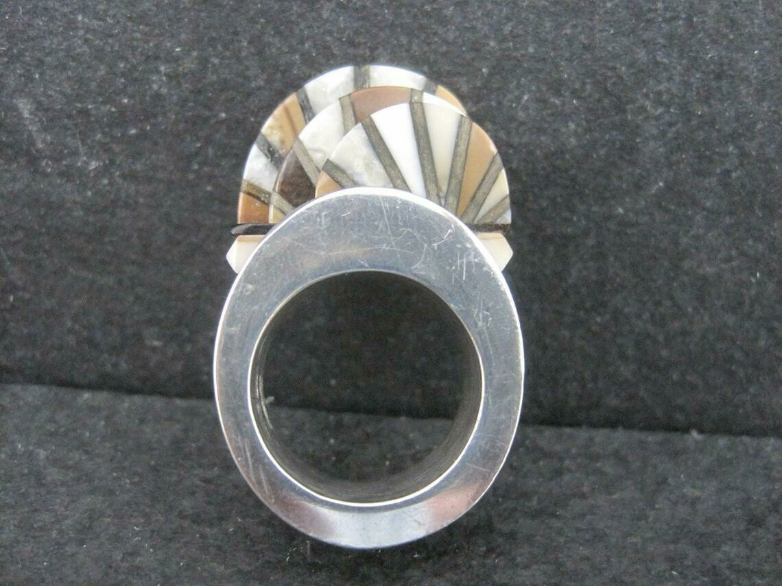 Unusual Contemporary Southwestern Sterling Inlay Ring Size 6
