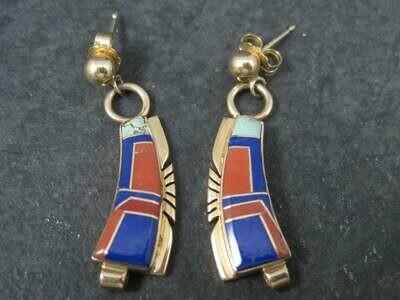 Vintage 14K Navajo Lapis Coral Inlay Earrings