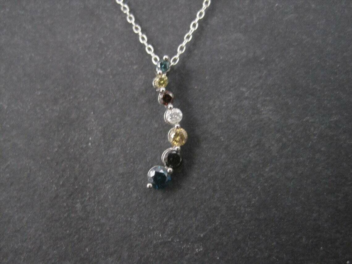 Estate 10K Colored Diamond Journey Pendant Necklace