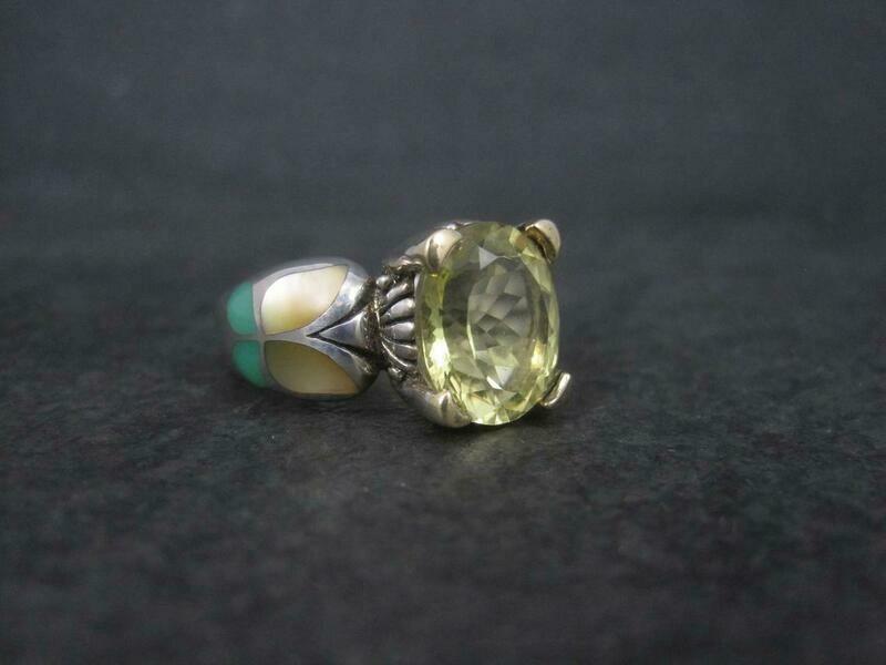Estate Sterling 18K Lemon Quartz Inlay Butterfly Ring Size 8 Grossbardt