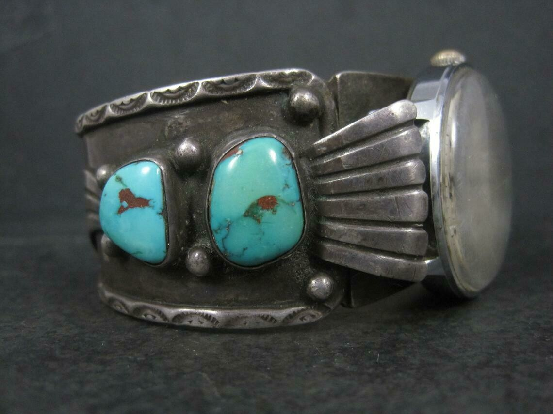 Heavy Sterling Turquoise Watch Cuff Bracelet 6.75 Inches