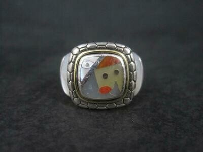Estate Sterling 18K Picasso Inlay Ring Size 5.5 Eric Grossbardt