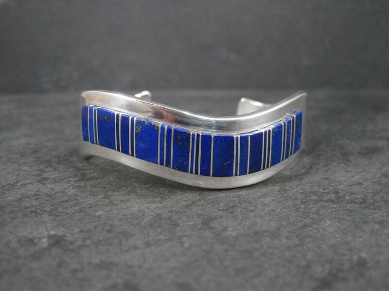 Vintage Lapis Cuff Bracelet 6.25 Inches Navajo Edward Becenti