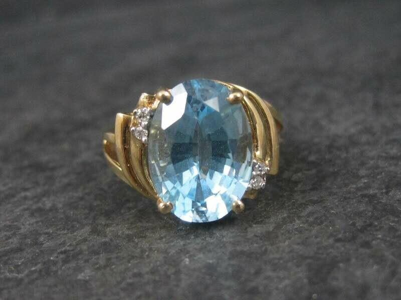 Huge Vintage 10K 7 Carat Blue Topaz Ring Size 8